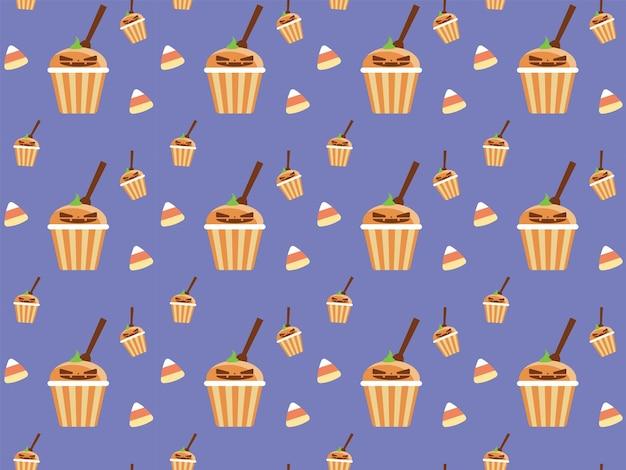 ハロウィーンジャックoランタンカップケーキキャンディーハロウィーンパターンイラスト
