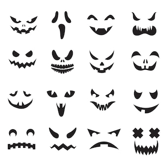 Halloween jack o lantern face silhouettes. monster ghost carving scary eyes and mouth icons set