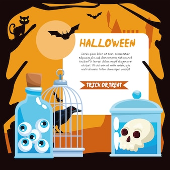 Halloween jars with skull raven eyes and banner design, holiday and scary theme