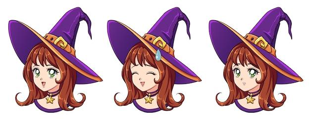 8 개의 다른 얼굴 표정을 가진 할로윈 귀엽다 마녀. 레트로 애니메이션 스타일 손으로 그리는 그림. 흰색 배경에 고립.
