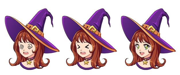 Halloween kawaii witch with eight different face expression