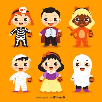Halloween kid collection on flat design
