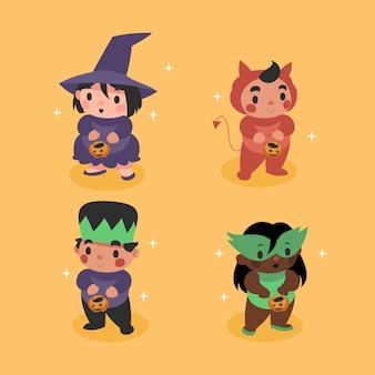 Collezione di bambini di halloween in design piatto