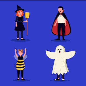 Halloween kid collection flat design