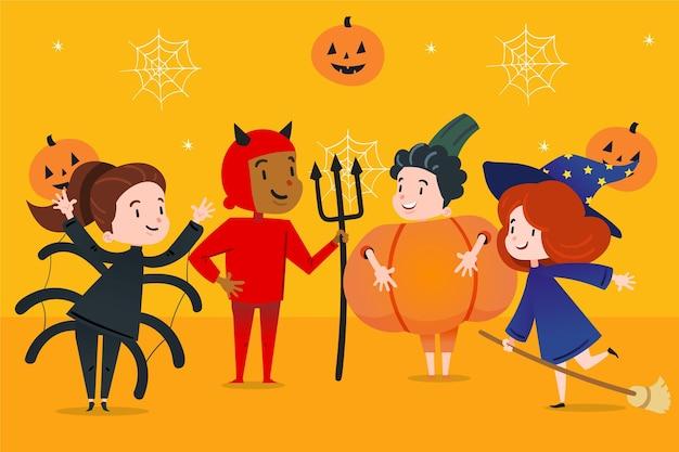 Коллекция детей хэллоуина в плоском дизайне