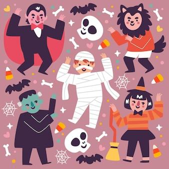 Хэллоуин малыш коллекции плоский дизайн