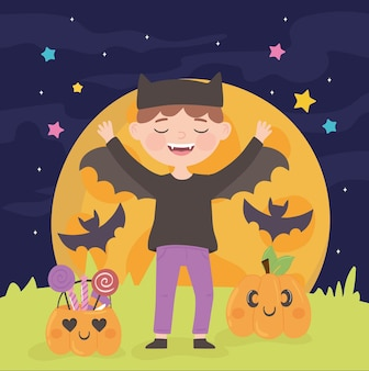 Halloween kid in costume party and pumpkins