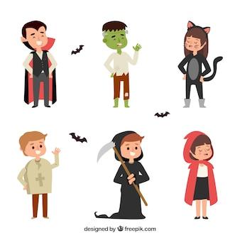 Costumi di capretto di halloween Vettore gratuito