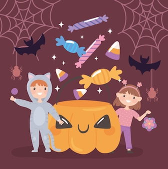 Halloween kids and candies party celebration