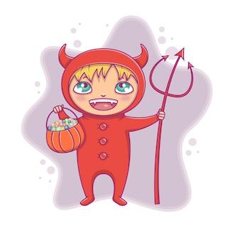 Детский костюм на хэллоуин. маленький мальчик в костюме дьявола хэллоуина смеется. векторный мультфильм характер для партии, приглашения, сети, талисман. изолированный.
