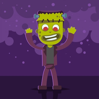Halloween kids costume of monster on a purple abstract background. vector cute cartoon flat character for holiday and partying. template design for the poster.