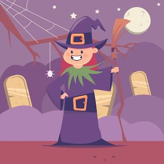 묘지와 달에 빗자루와 귀여운 마녀의 할로윈 키즈 의상. 휴일 및 파티에 대 한 여자의 벡터 만화 평면 캐릭터.