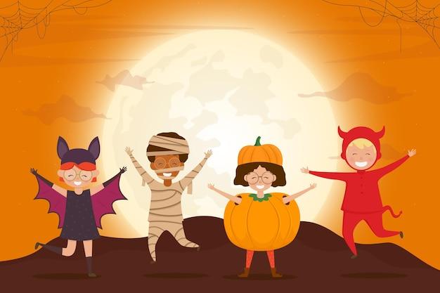 Halloween kids costume party cartoon characters of children pumpkin devil mummy bat