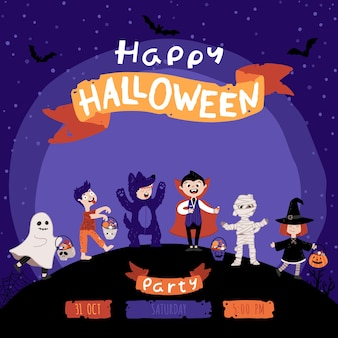 Halloween kids costume party invitation. a group of kids in various costumes for the holiday. night sky background. cute childish illustration in cartoon hand-drawn style. lettering.