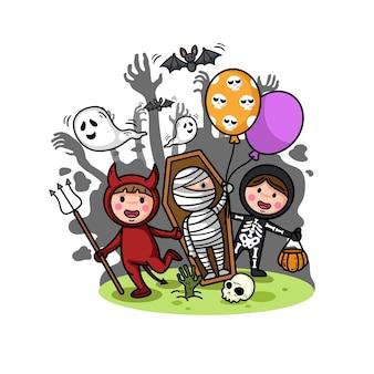ハロウィーンの子供の衣装パーティーは、白い背景に分離します。