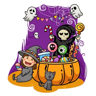 Halloween kids costume party isolate on white background.