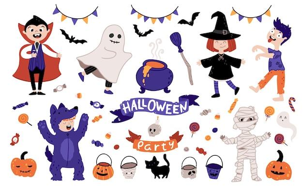 ハロウィンキッズコスチュームパーティーセット。休日のためのさまざまな衣装を着た子供たちのグループ。キャラクターとシンプルな漫画の手描きスタイルの要素のイラスト。