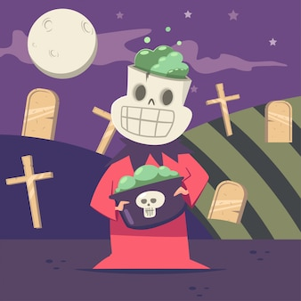 Halloween kids costume of skeleton on the background of the graveyard and the moon.