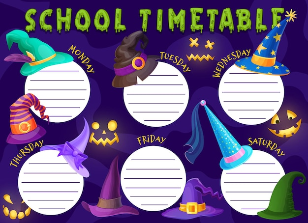 Halloween kids education schedule with witch hats. school timetable template with cartoon wizard caps and glow pumpkin spooky faces. weekly time table for lessons and classes, planner frame