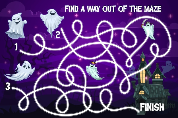 Halloween kids labyrinth maze game with funny ghosts. vector puzzle help spooky characters find way to haunted castle at night. children board game, task with tangled path, education preschool riddle