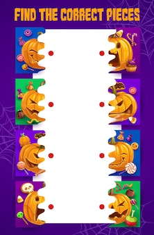 Halloween kids maze find the correct pumpkin pieces. match the halves vector board game with sweets, jack-o-lantern and spider web. puzzle task with candies, riddle for children educational activity