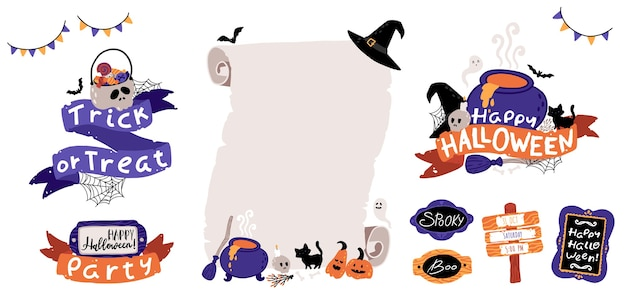 Halloween kids party invitation template set. lettering composition with ribbons and scary attributes. old paper roll. childrens illustrations in cute cartoon hand-drawn style. isolated vector.