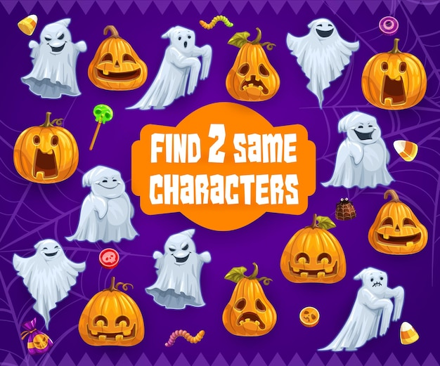 Halloween kids riddle game find two same ghosts