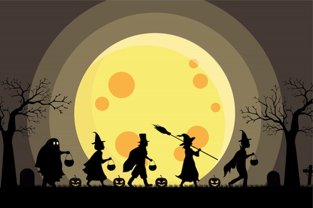Halloween kids silhouette costume party and big moon background