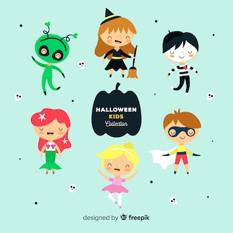 Halloween kinds collection in flat design