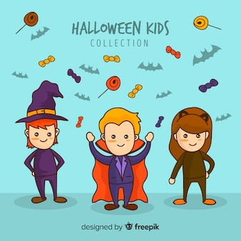 Halloween kinds collection in hand drawn style