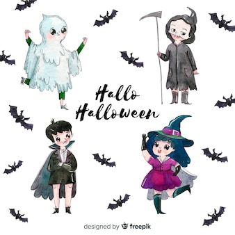 Halloween kinds collection in watercolor