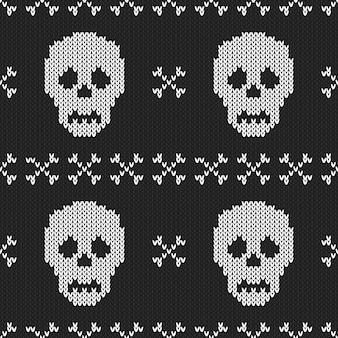 Halloween knitted seamless pattern.