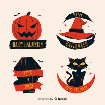 Halloween label collection on flat design