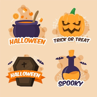Halloween label collection in flat design