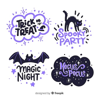 Halloween label collection on white background