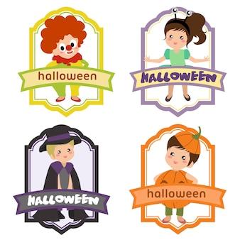 Halloween label with clown costume kids