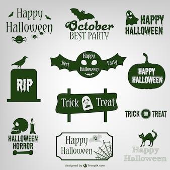Хэллоуин этикетки и логотипы дизайна коллекции