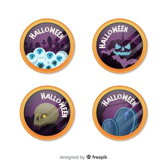 Halloween labels collection in flat design