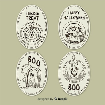 Halloween labels collection in hand drawn style