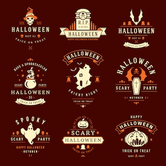 Halloween labels and logos with creepy and spooky symbols