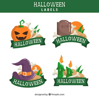Хэллоуин этикетки с красочным стилем