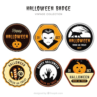 Halloween labels with vintage style
