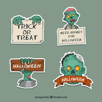 Halloween labels with zombie