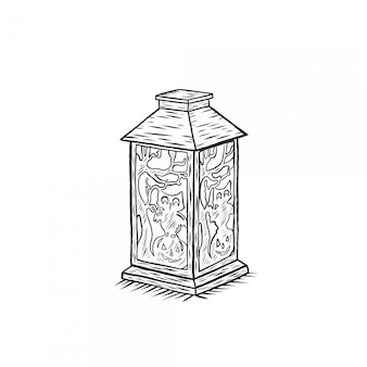 Halloween lamp hand drawing engraving
