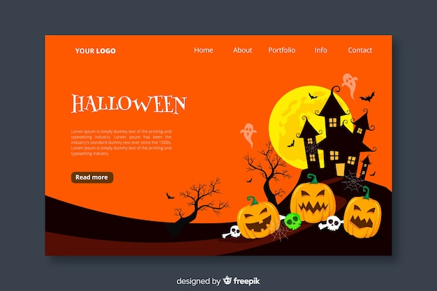 Halloween landing page in flat design