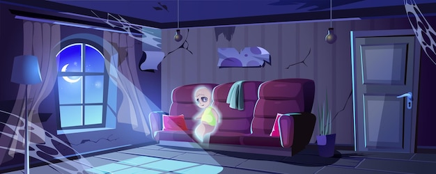 Halloween landing page ghost in abandoned old house ruined room interior with cobwebs