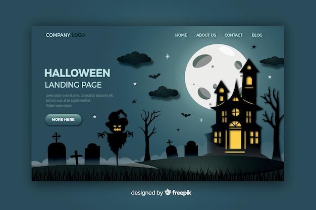 Хэллоуин целевая страница в плоском дизайне