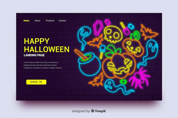 Halloween landing page and neon pumpkin