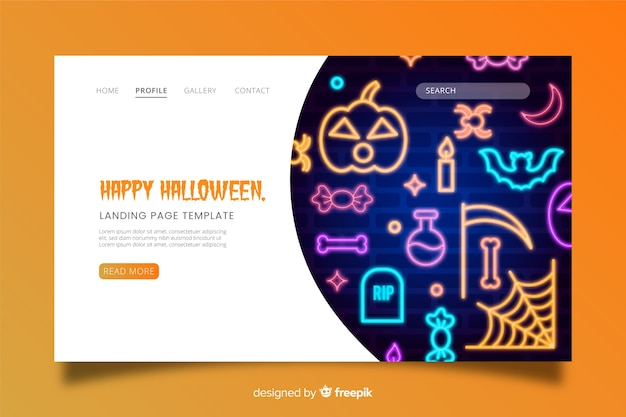 Halloween landing page neon sign