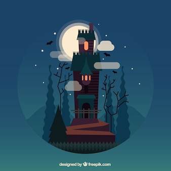 Halloween landscape background with enchanted castle
